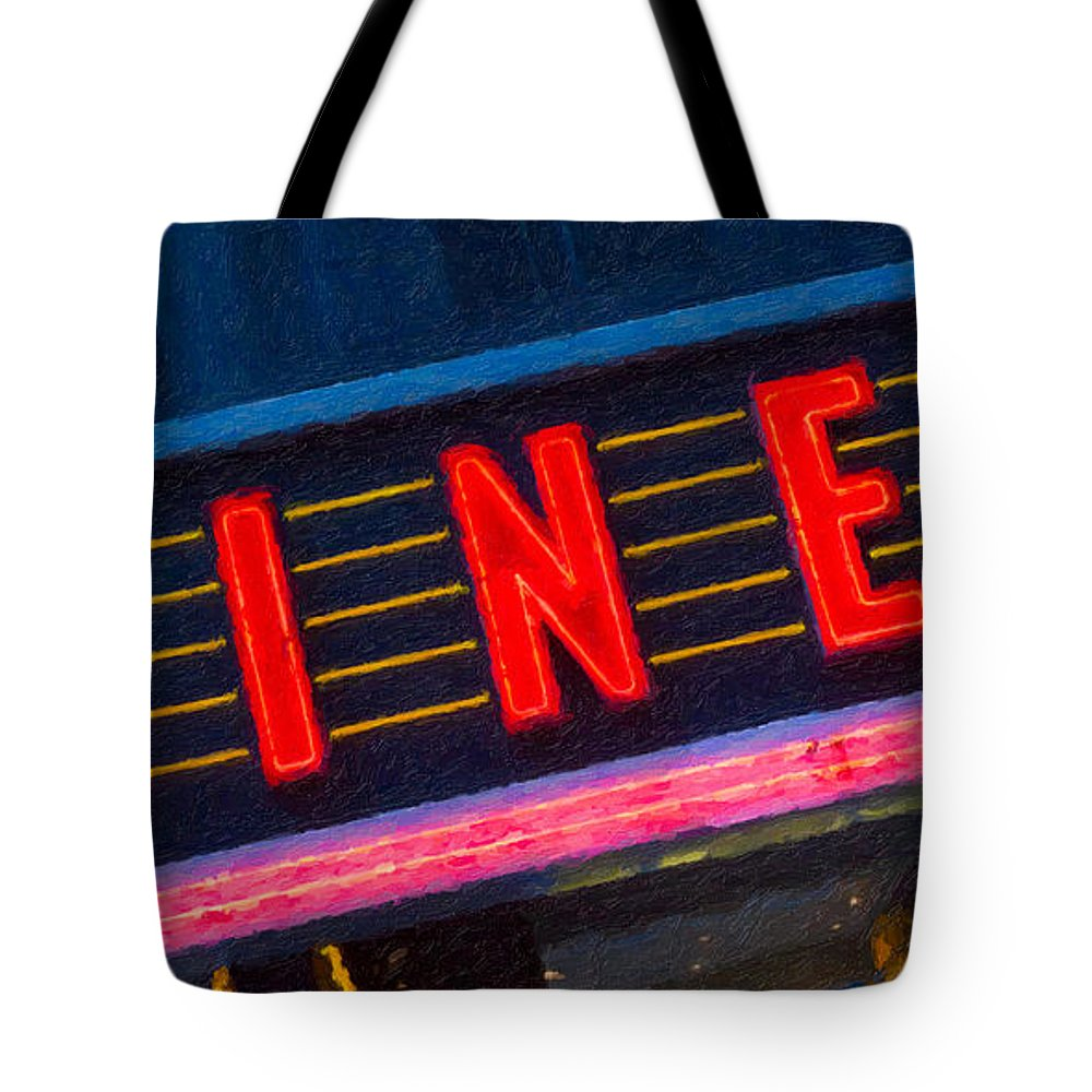 Clarence Holmes Tote Bag featuring the photograph Diner Sign In Neon by Clarence Holmes