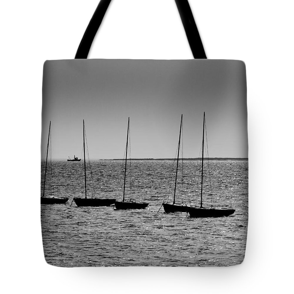 Dinghie Tote Bag featuring the photograph Dinghies Moored Off Of Leigh On Sea Essex by David Pyatt