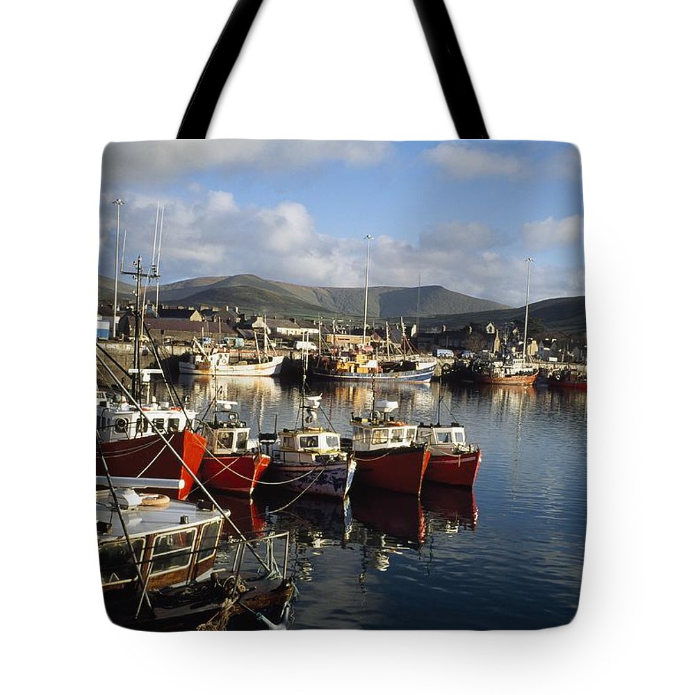 Outdoors Tote Bag featuring the photograph Dingle, Co Kerry, Ireland Boats In A by The Irish Image Collection