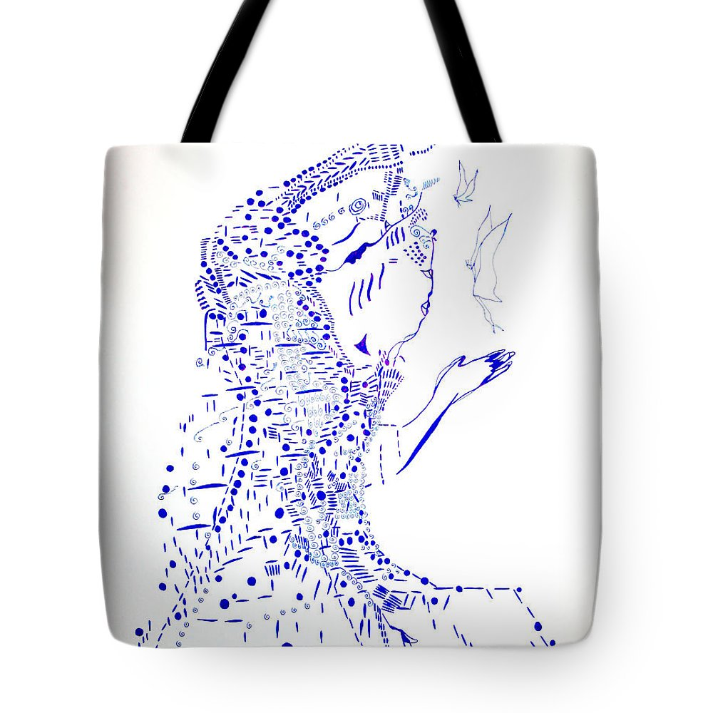 Jesus Tote Bag featuring the drawing Dinka Courtship - South Sudan by Gloria Ssali