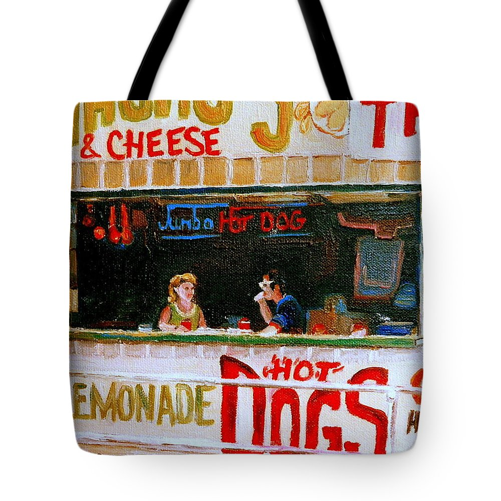Atlantic City Tote Bag featuring the painting Dinner For Two Atlantic City On The Boardwalk  by Carole Spandau