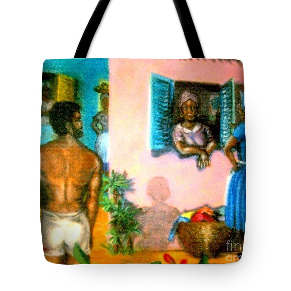 Gossip Tote Bag featuring the painting Dirty Laundry/gossip by Jose Breaux