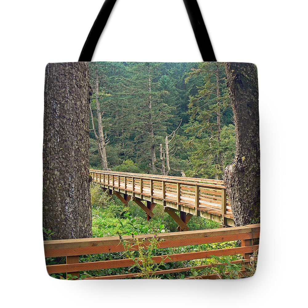 Bridge Tote Bag featuring the photograph Discovery Trail Bridge by Pamela Patch