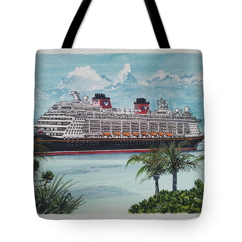 Disney Fantasy Tote Bag featuring the painting Disney Fantasy At Castaway Cay by John Cecil Smith