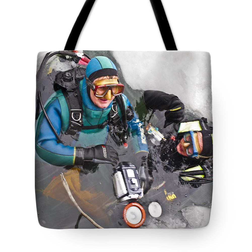 Heiko Tote Bag featuring the photograph Diving In The Ice by Heiko Koehrer-Wagner