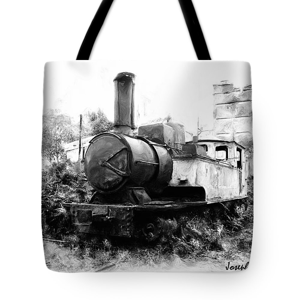 Train Tote Bag featuring the photograph Do-00508 Mar Mikhael Train Bw by Digital Oil