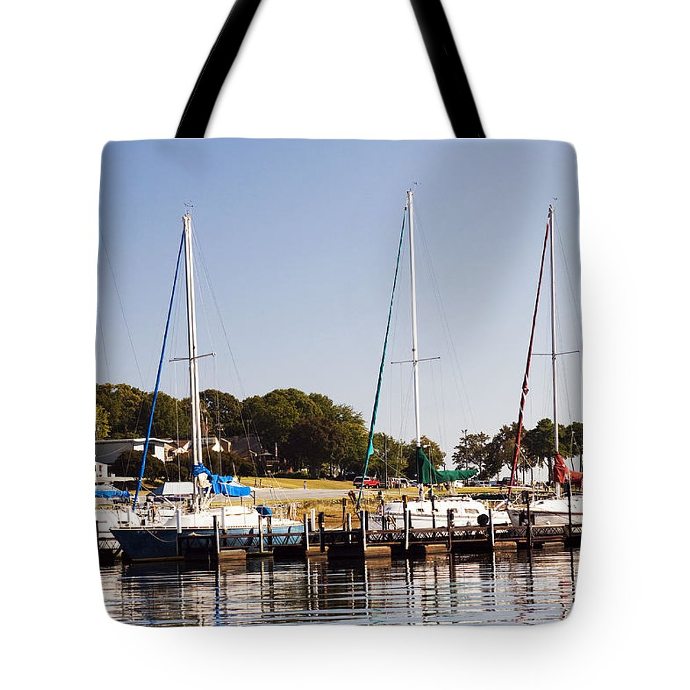Sailboats Tote Bag featuring the photograph Docked by Lisha Segur