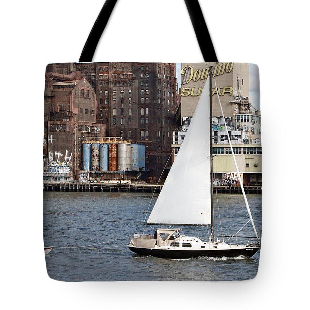 Sail Boat Domino Sugar Water View New York City Tote Bag featuring the photograph Domino Sugar Sailing by Alice Gipson