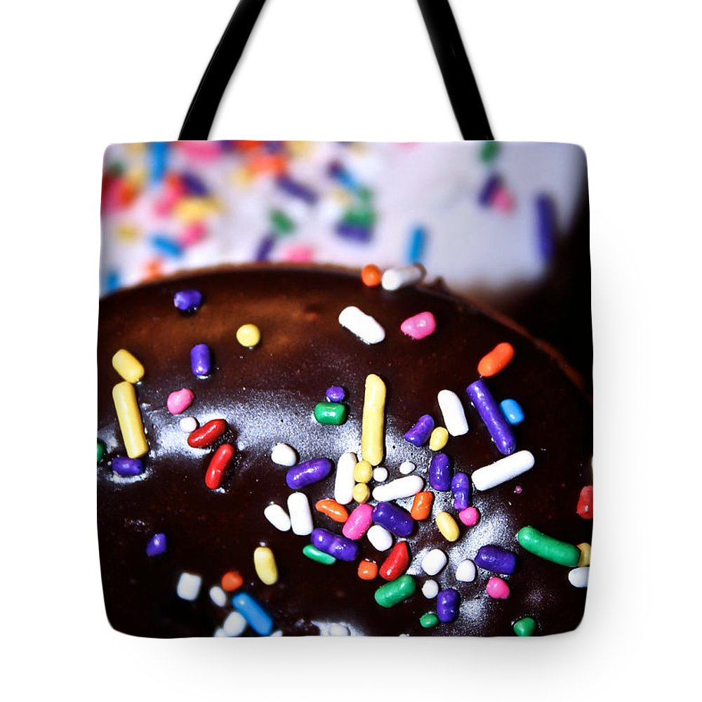 Edible Tote Bag featuring the photograph Double Doughnuts by Susan Herber