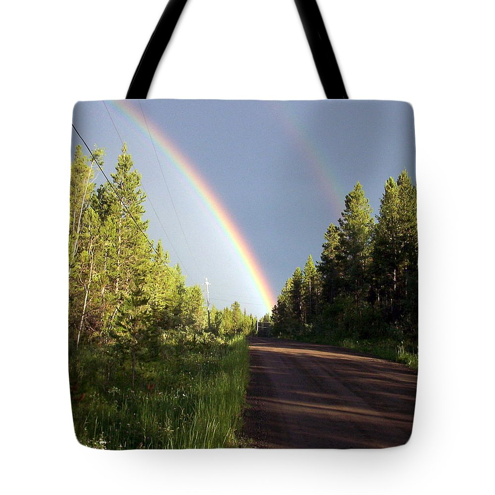 Double Rainbow Tote Bag featuring the photograph Double Rainbow by Susan Saver