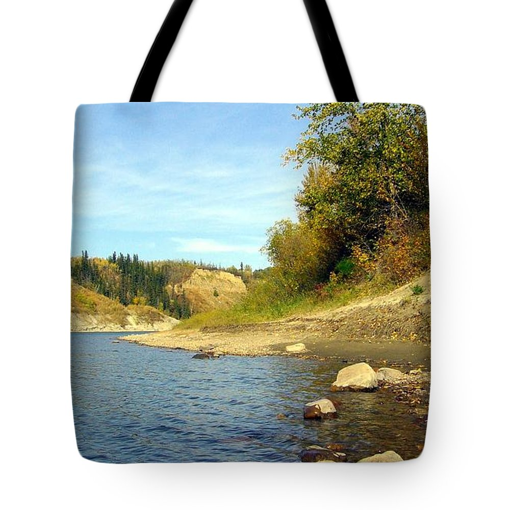 Nature Tote Bag featuring the photograph Down By The River by Jim Sauchyn