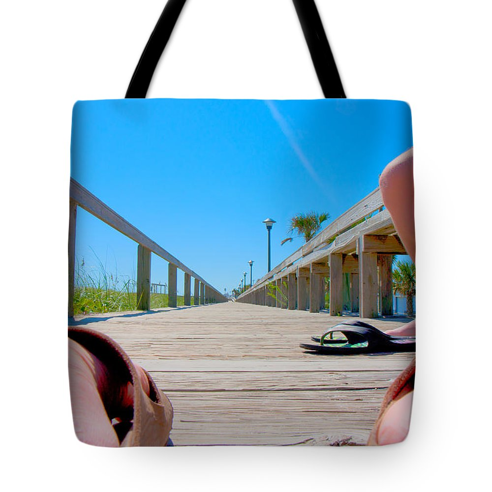 Pleasure Tote Bag featuring the digital art Down The Deck by Betsy Knapp