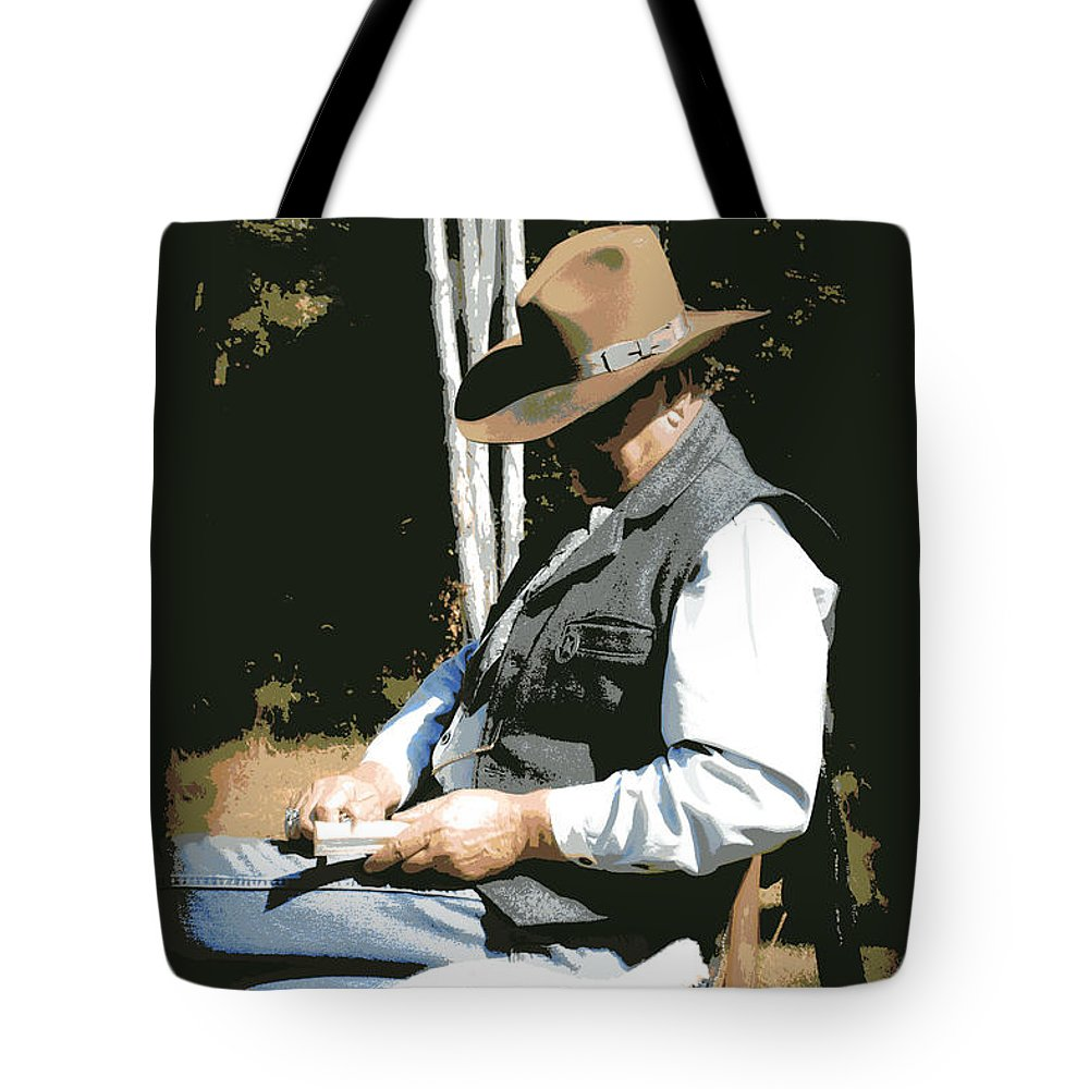 Western Tote Bag featuring the digital art Down Time by Tina Meador