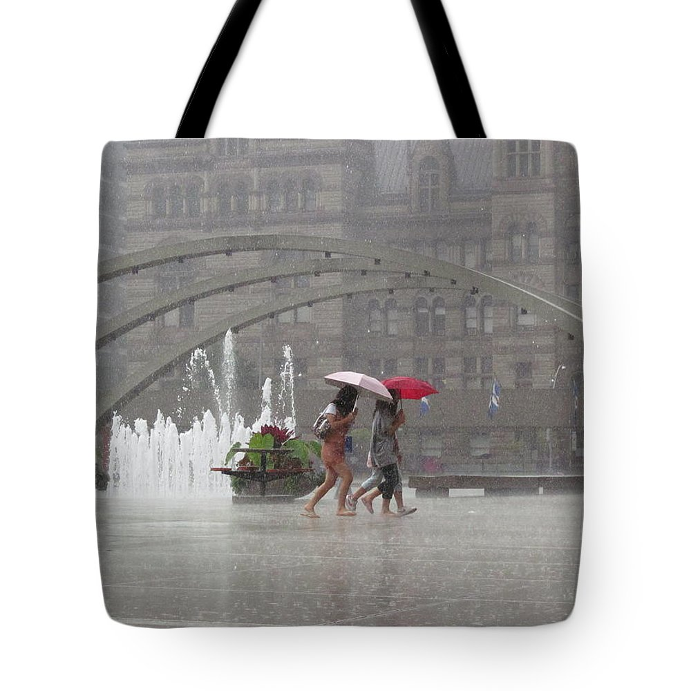 Weather Tote Bag featuring the photograph Downpour In Toronto by Alfred Ng