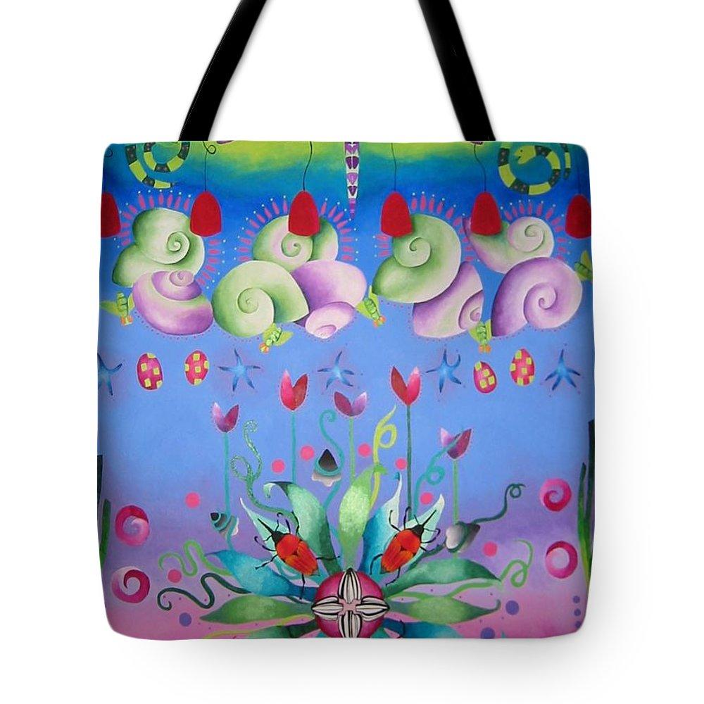 Dragonfly Tote Bag featuring the painting Dragon by Elizabeth Elequin