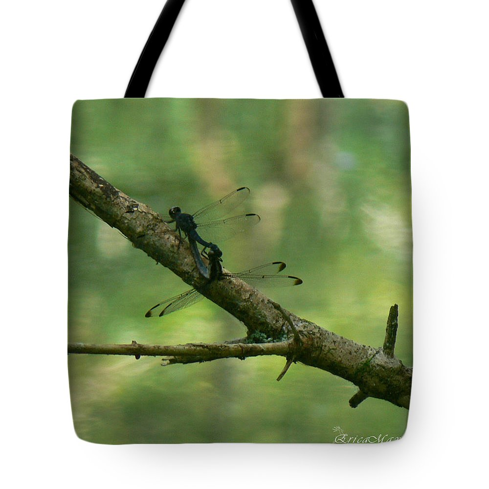 Dragonfly Tote Bag featuring the photograph Dragonfly Hanky Panky by Ericamaxine Price