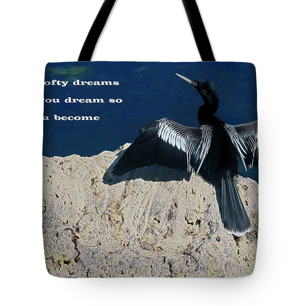 Anhinga Tote Bag featuring the photograph Dream Lofty Dreams by Sally Weigand
