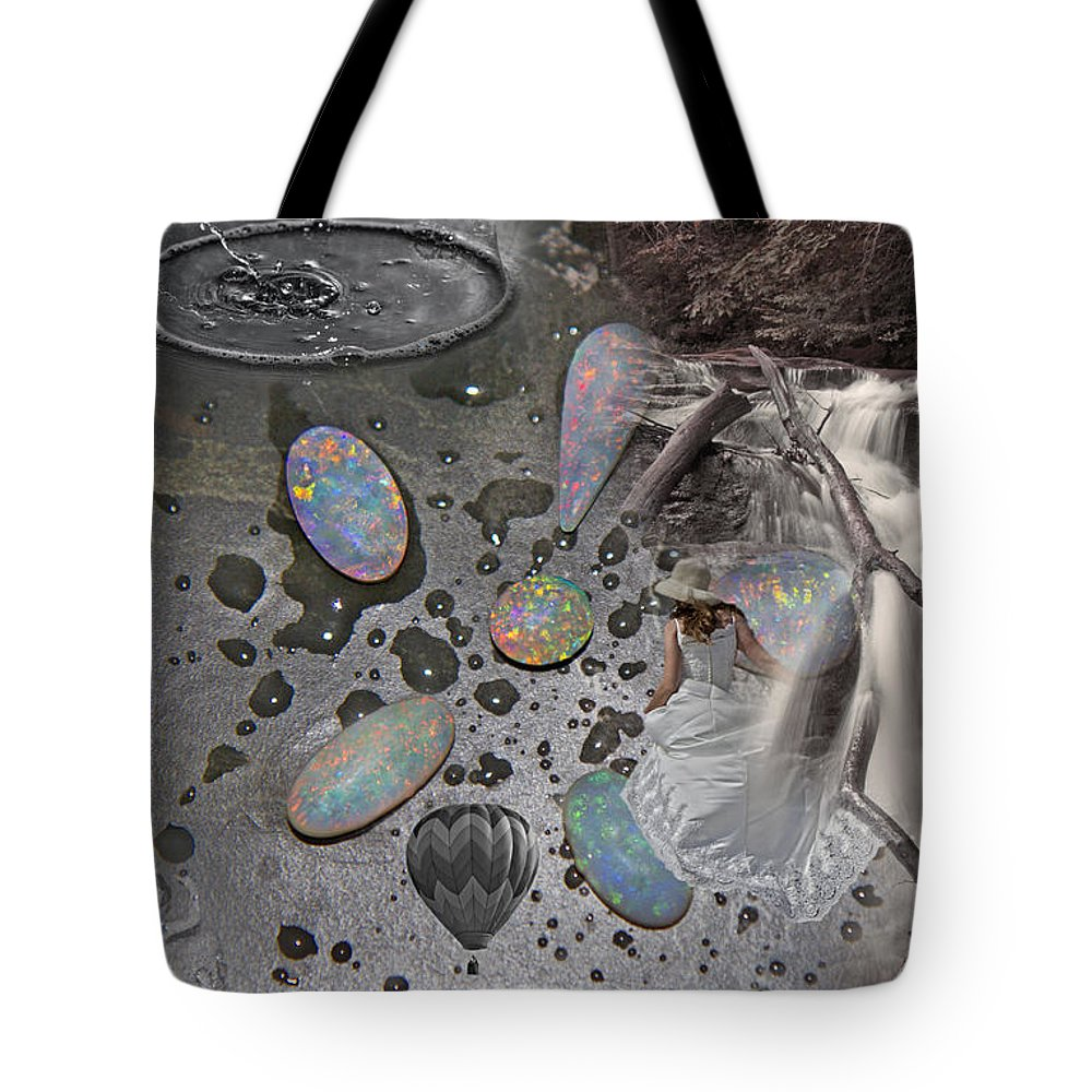 Waterfall Tote Bag featuring the digital art Dreamworks by Betsy Knapp
