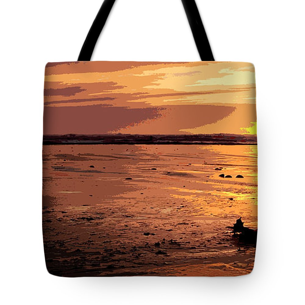 Sun Tote Bag featuring the digital art Driftwood At Sunset by Phill Petrovic