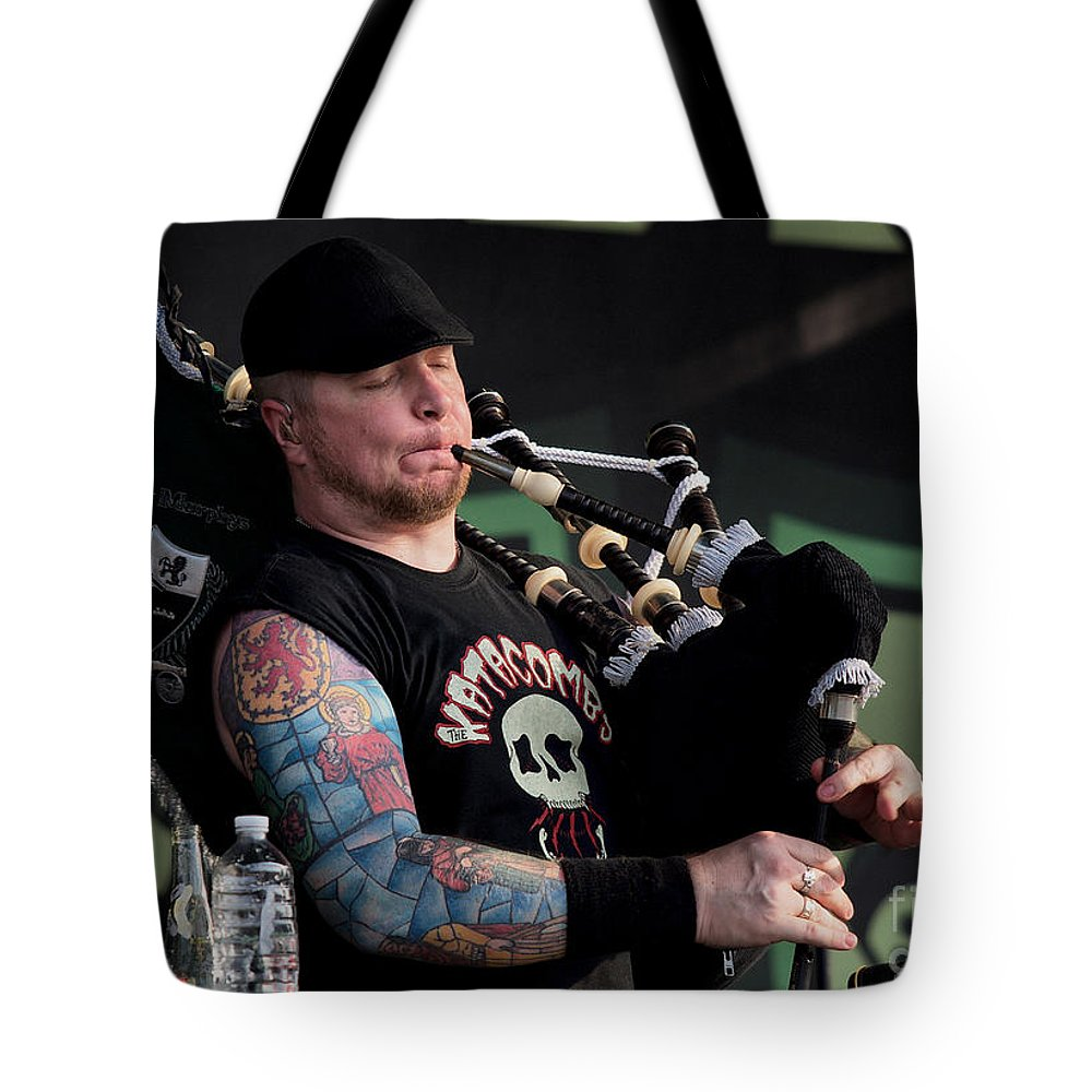 Dropkick Murphy Tote Bag featuring the photograph Dropkick Murphy In Concert by Andrea Kollo