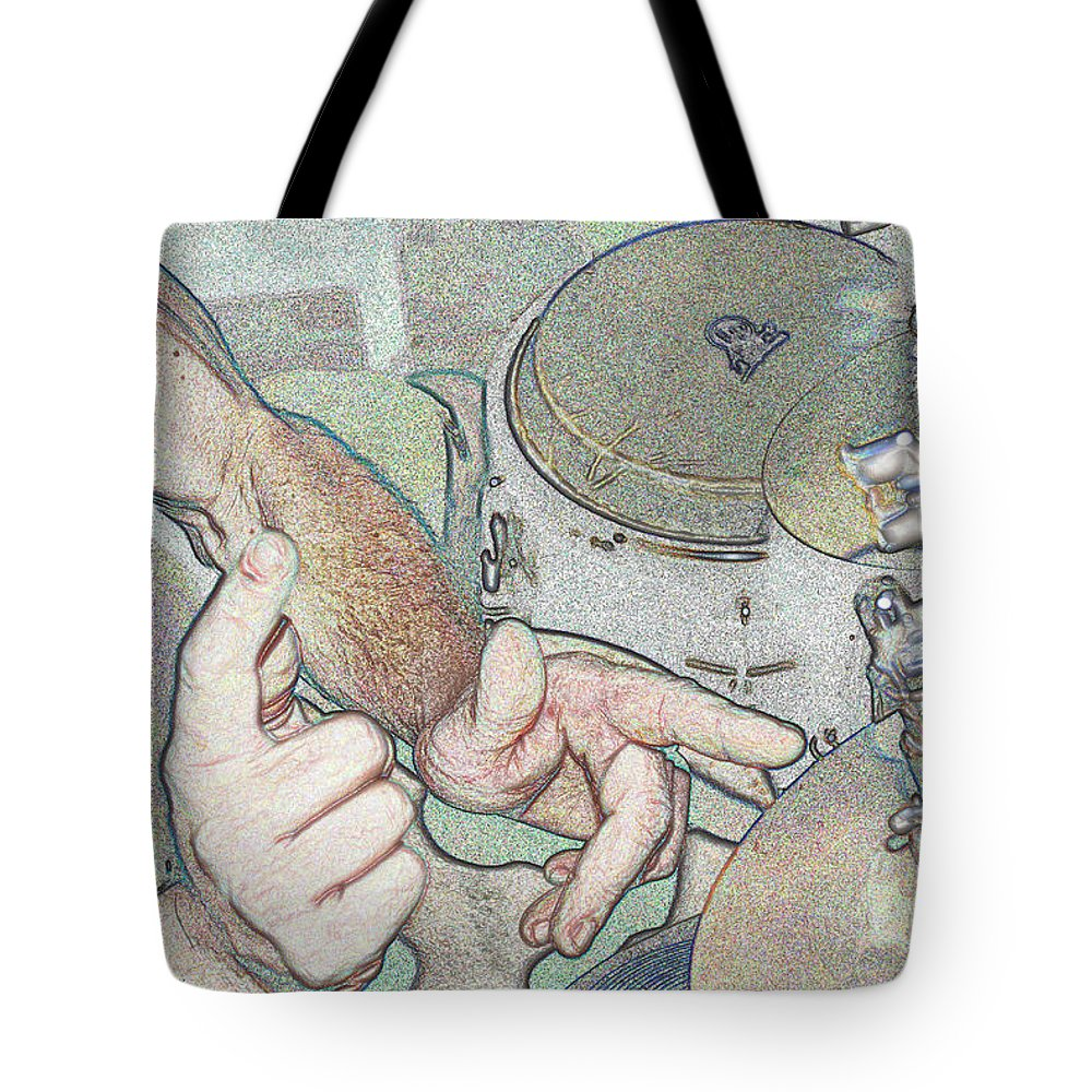 Drums Tote Bag featuring the photograph Drums by Michael Merry