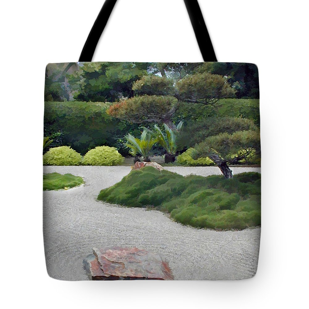 Japanese Garden Tote Bag featuring the painting Dry Garden Sea by Elaine Plesser