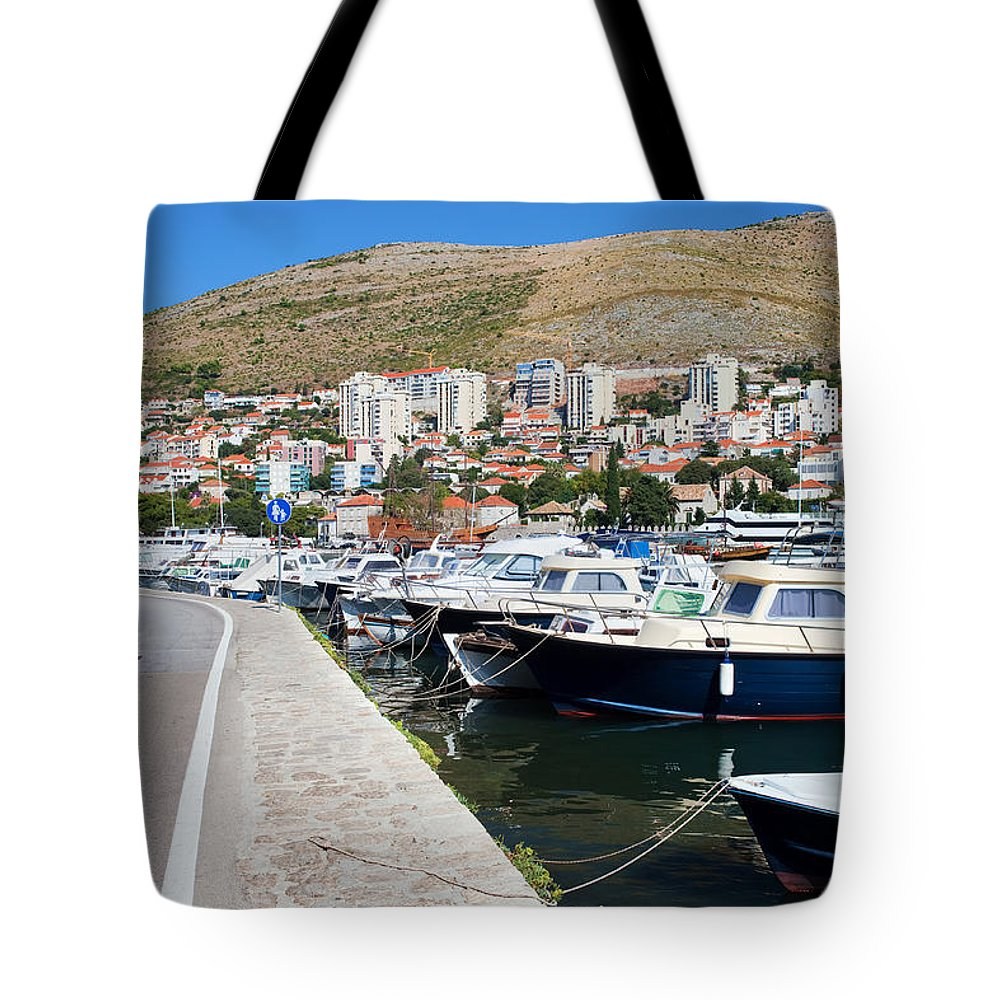 Anchoring Tote Bag featuring the photograph Dubrovnik Cityscape And Harbor by Artur Bogacki