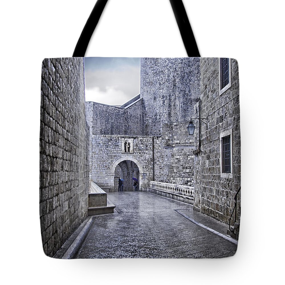 Dubrovnik Tote Bag featuring the photograph Dubrovnik In The Rain - Old City by Madeline Ellis