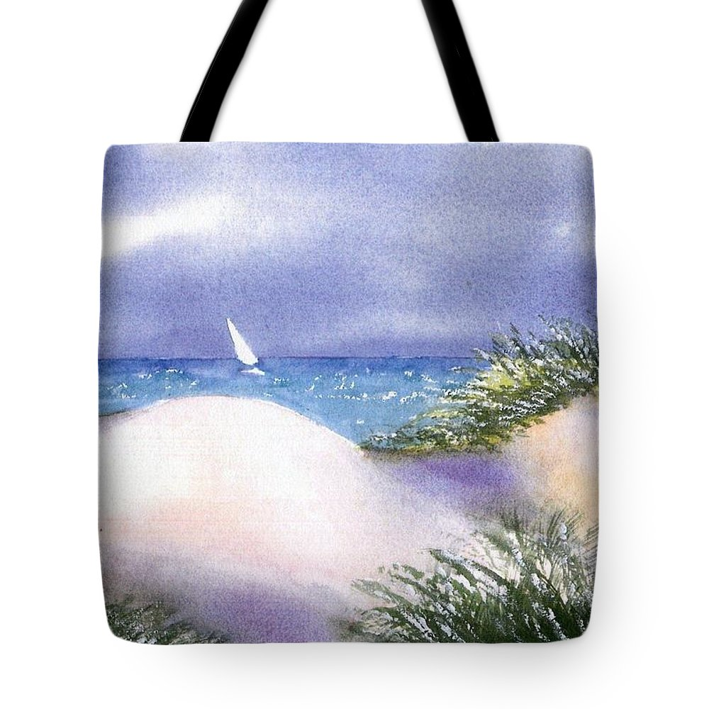Cape Cod Watercolor Tote Bag featuring the painting Dune View by Joseph Gallant
