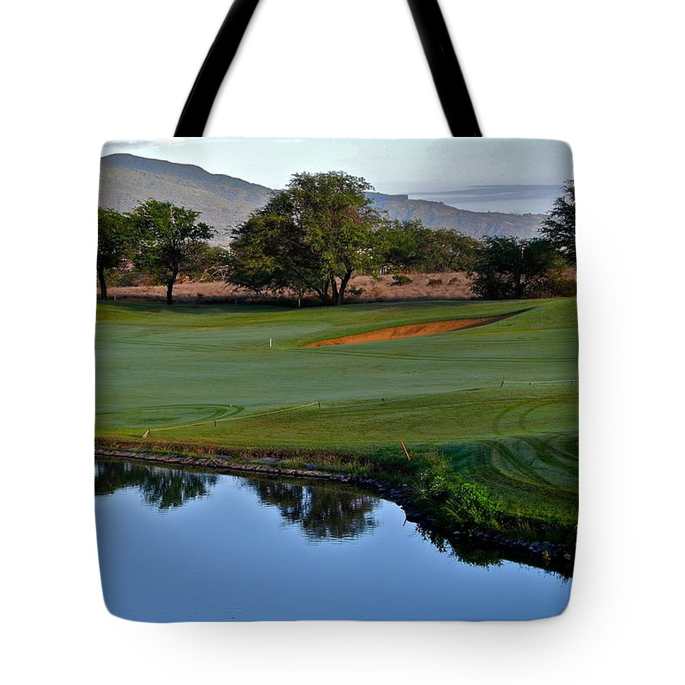 Golf Courses Tote Bag featuring the photograph Dunes At Maui Lani 18th Fairway by Kirsten Giving
