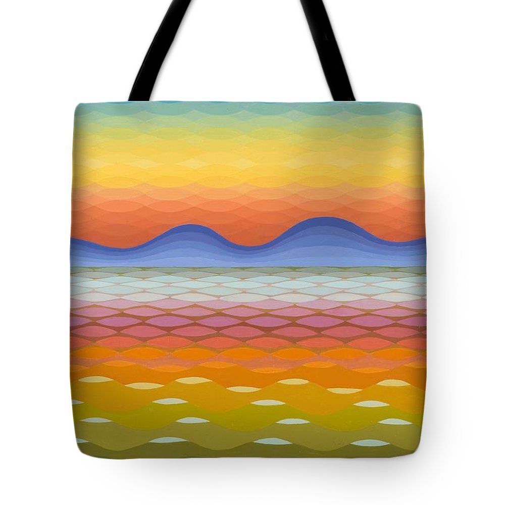 Evening Tote Bag featuring the painting Dusk At Lake Balaton by Emil Parrag