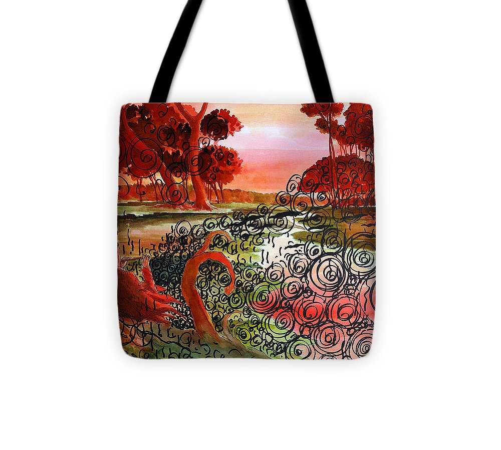 Boy With Flute In Dusk Tote Bag featuring the painting Dusk by Ayan Ghoshal