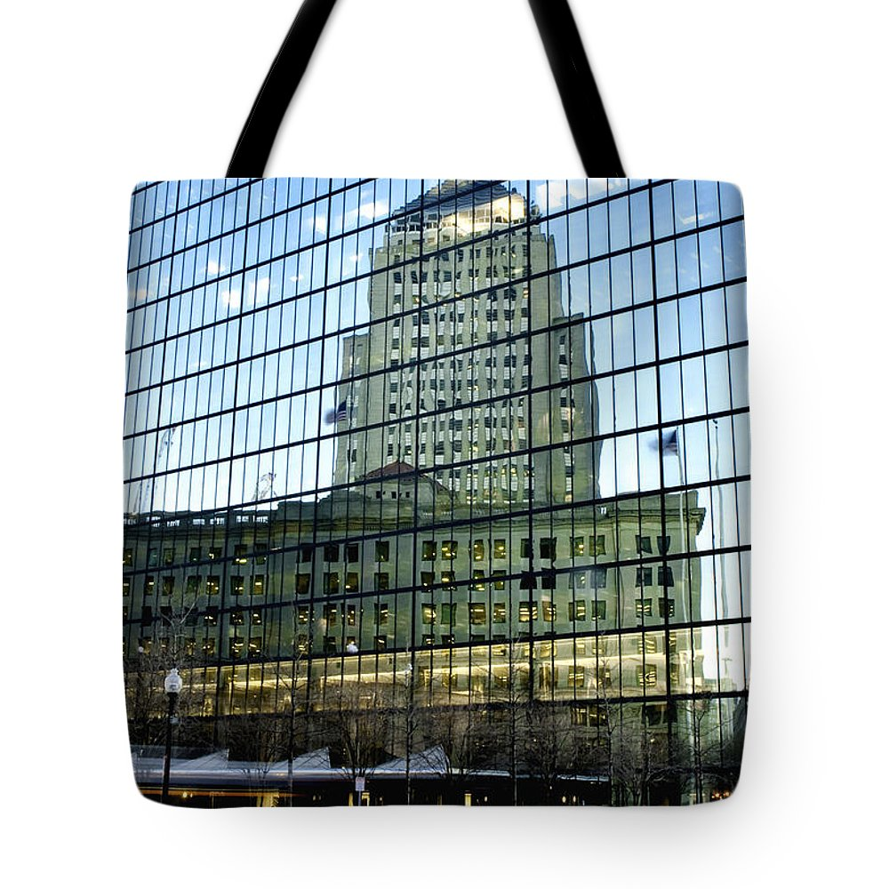 Art Tote Bag featuring the photograph Dusk Reflections by Greg Fortier