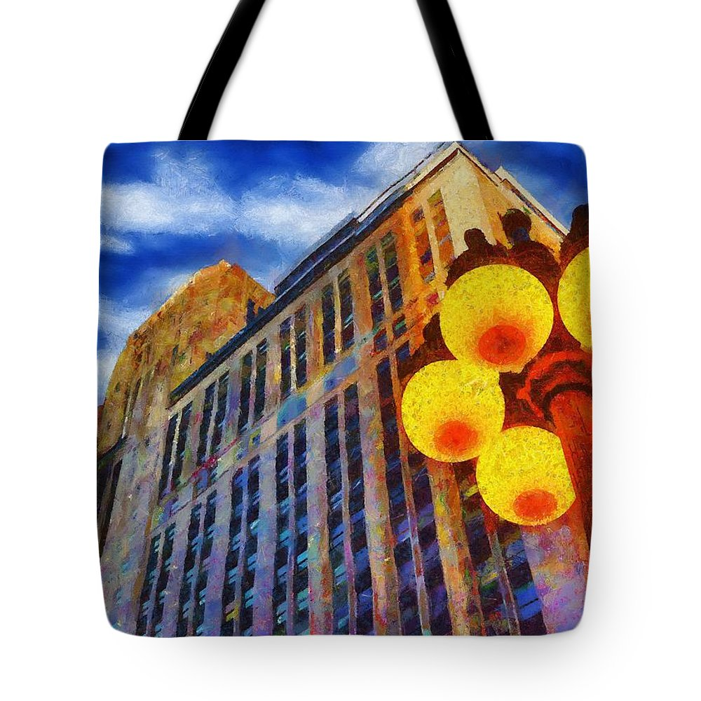 Architecture Tote Bag featuring the painting Early Evening Lights by Jeffrey Kolker