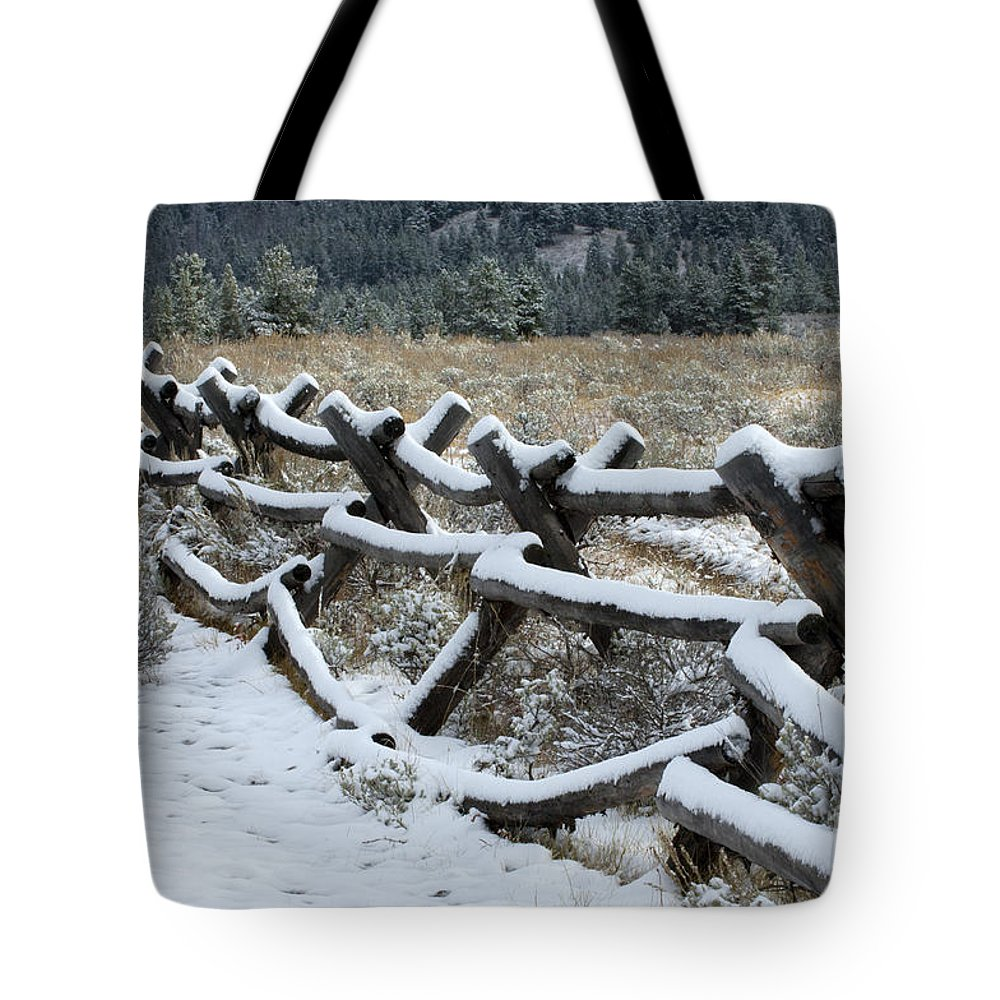 Sandra Bronstein Tote Bag featuring the photograph Early Fall Snow by Sandra Bronstein