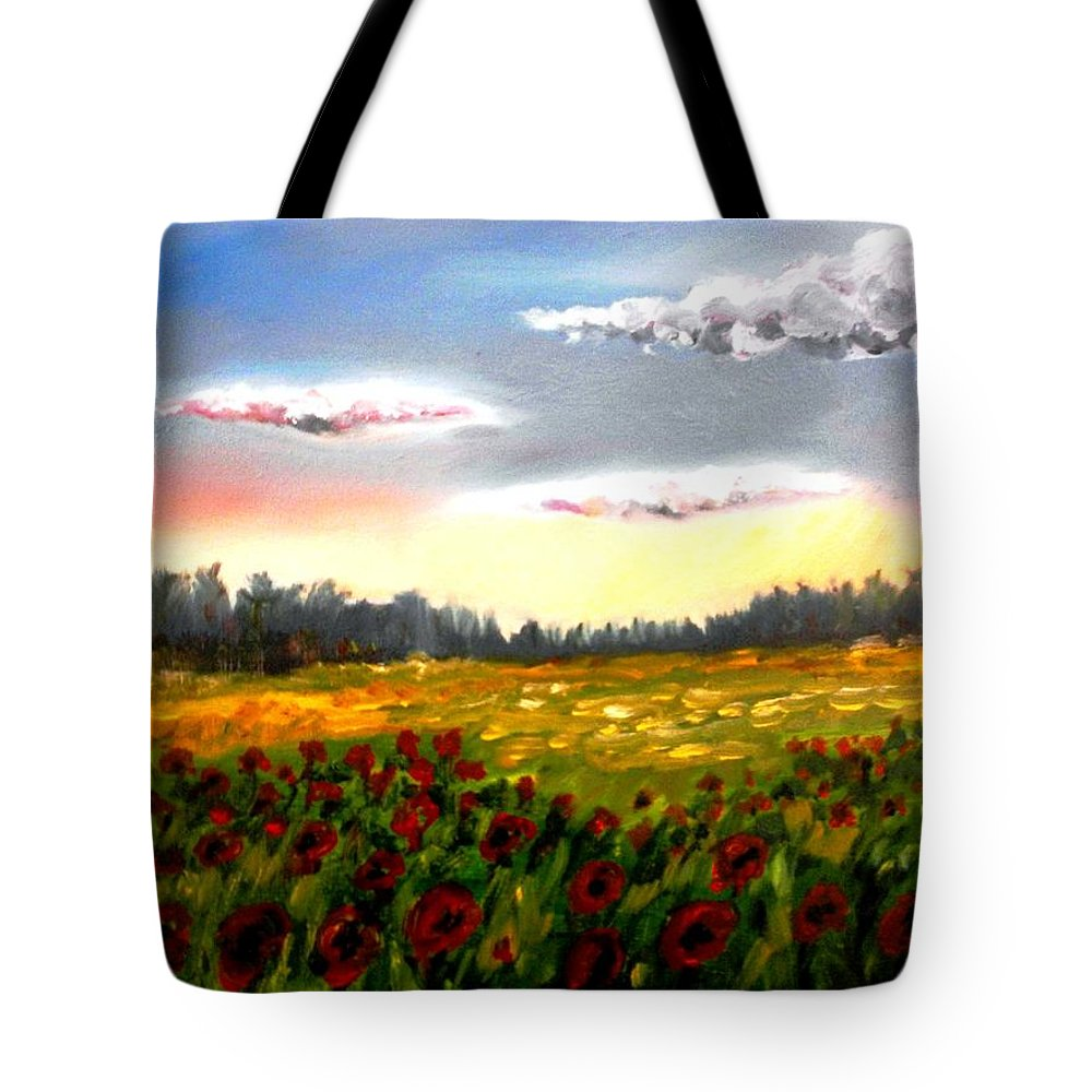 Landscape Tote Bag featuring the painting Early Morning by Konstantinos Charalampopoulos