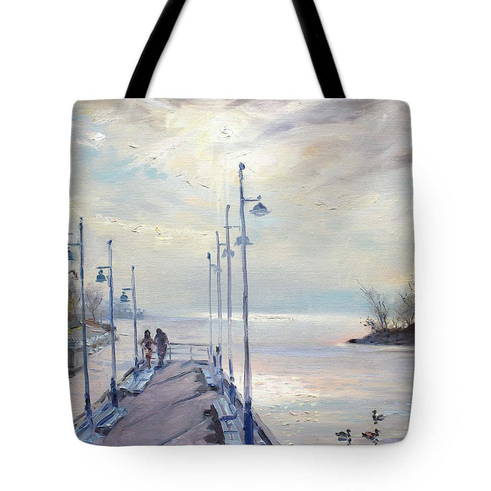 Painting Tote Bag featuring the painting Early Morning In Lake Shore by Ylli Haruni