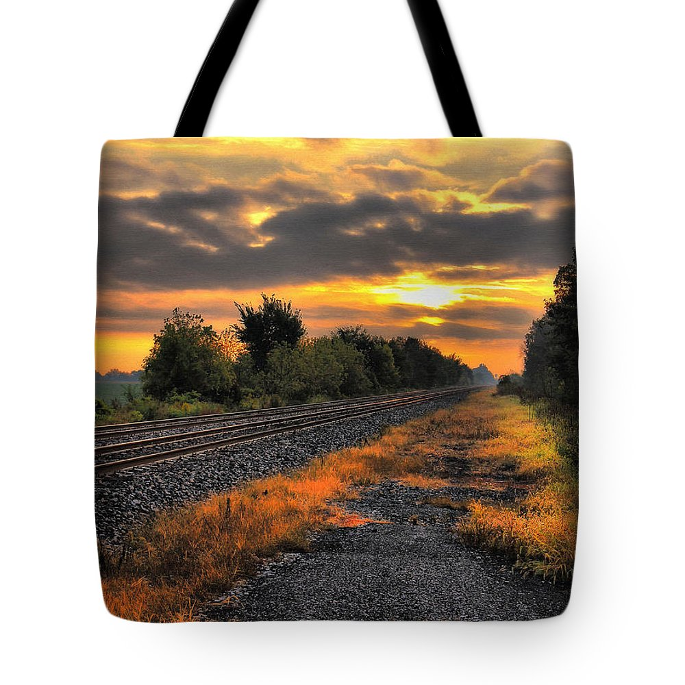 Sunrise Tote Bag featuring the digital art Early Morning Sunrise by Tom Schmidt