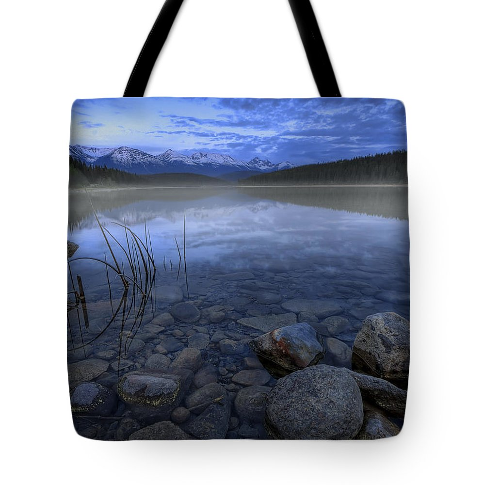Blue Tote Bag featuring the photograph Early Summer Morning On Patricia Lake by Dan Jurak
