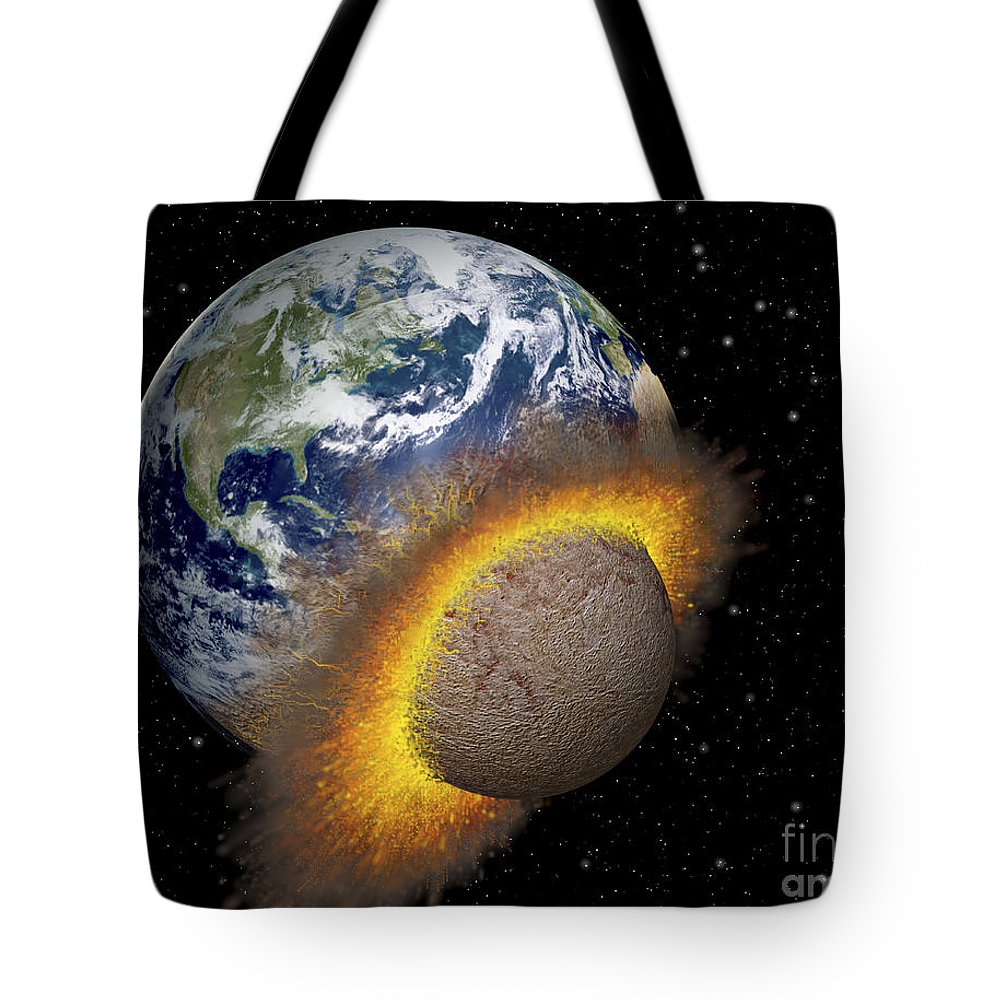 Digitally Generated Image Tote Bag featuring the digital art Earth Colliding With A Mars-sized by Ron Miller