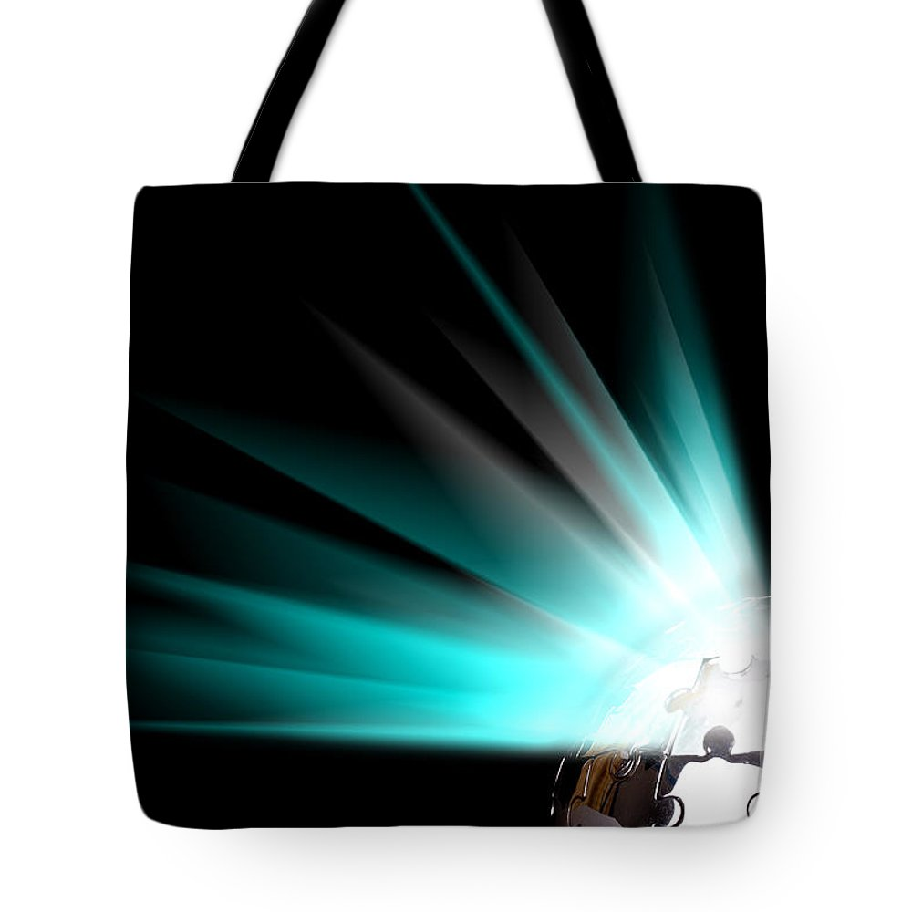 Strategy Tote Bag featuring the photograph Earth Globe With Blue Bursts by Simon Bratt Photography LRPS