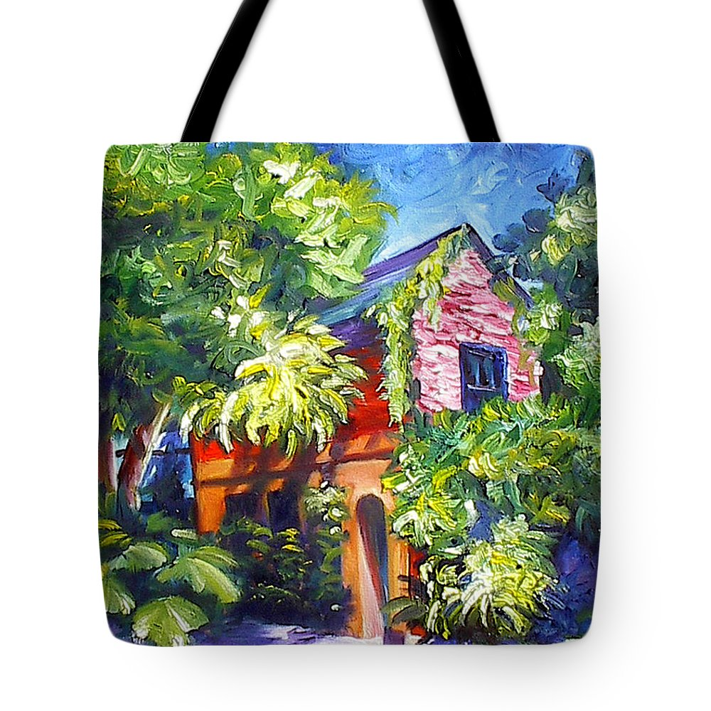 Sky; Impressionist; House; Charleston; Tree; Flowers; Blue; Red; Green; Yellow; Contemporary; Street; Road; Vintage; Old; Southern; Antebellum; James Christopher Hill; Jameshillgallery.com; Ocean; Lakes; Creation; Genesis Tote Bag featuring the painting East Bay House In Charleston by James Christopher Hill