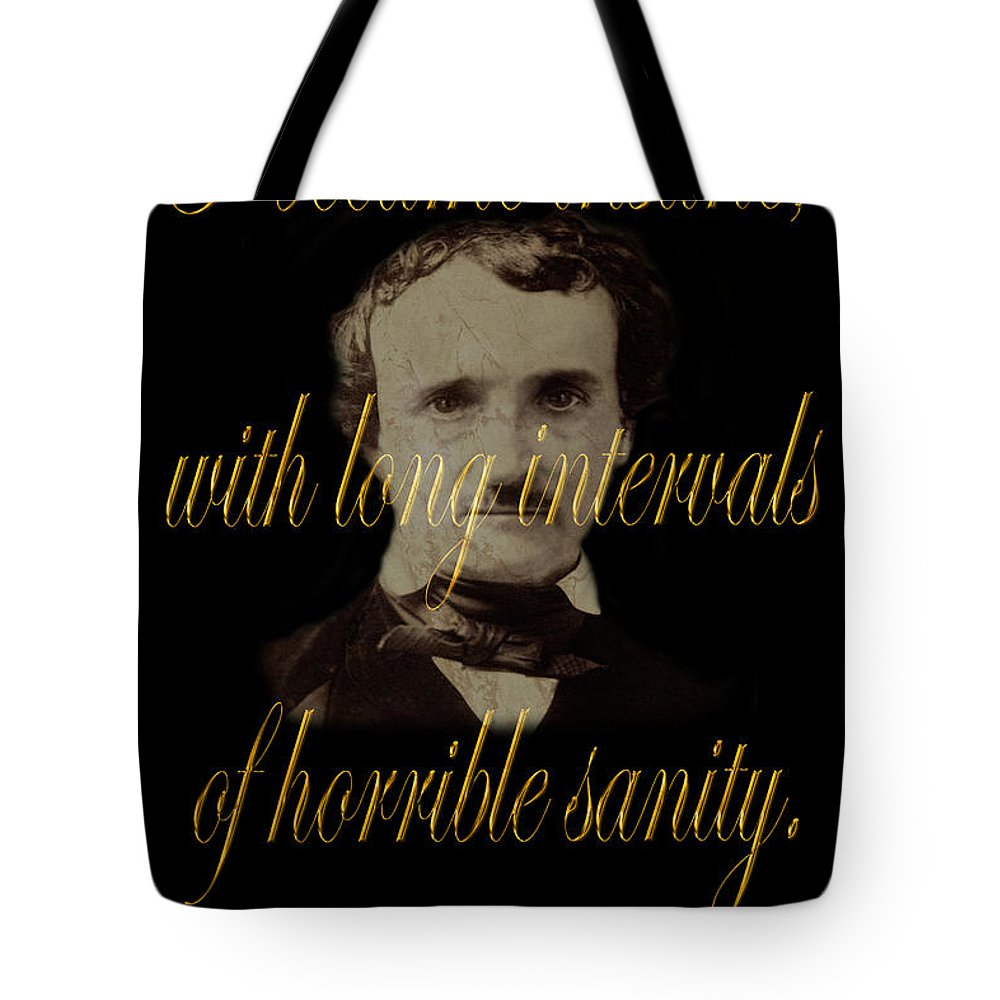 Poe Tote Bag featuring the photograph Edgar Allan Poe 2 by Andrew Fare