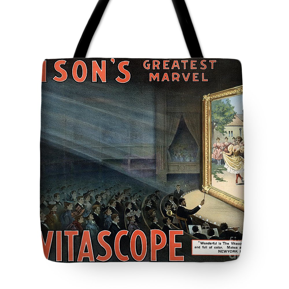 1896 Tote Bag featuring the photograph Edisons Vitascope, 1896 by Granger