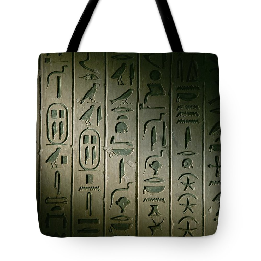 Africa Tote Bag featuring the photograph Egyptian Hieroglyphics Decorate by Kenneth Garrett
