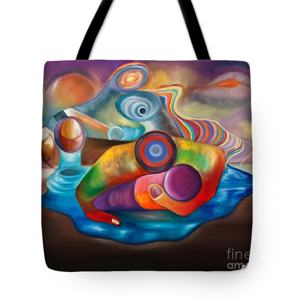 Chameleon Tote Bag featuring the painting El Camaleon by Aliosha Valle