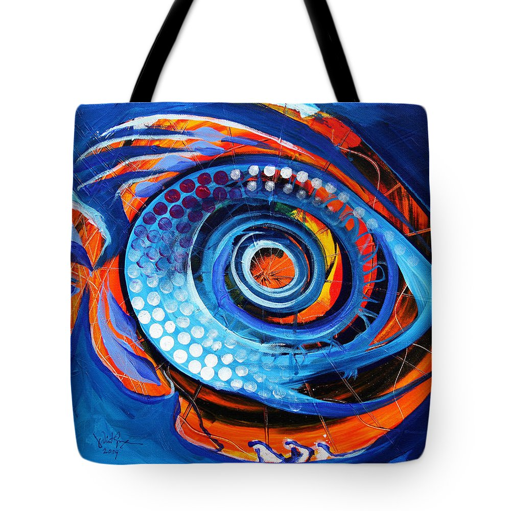 Fish Tote Bag featuring the painting El Chupacabra by J Vincent Scarpace