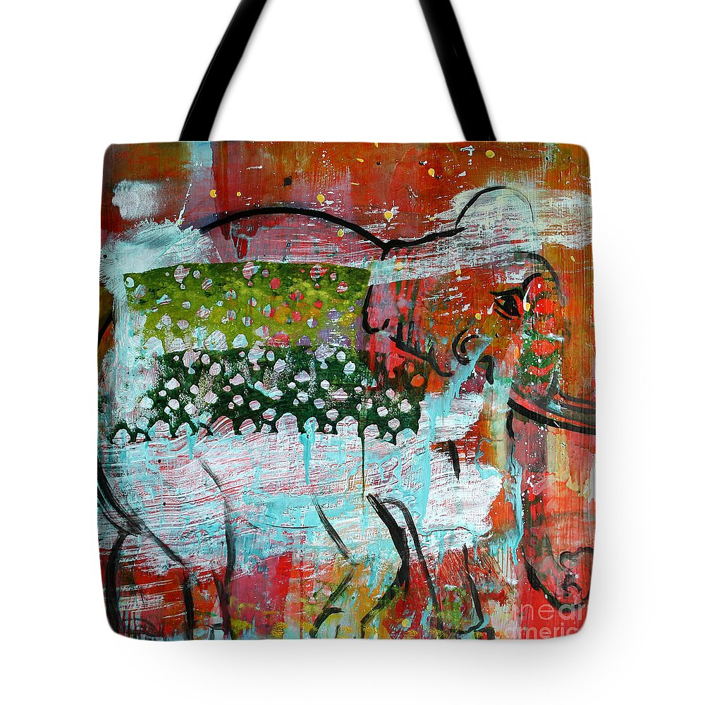 Elephant Tote Bag featuring the painting Elephante 1 by Scott Dykema