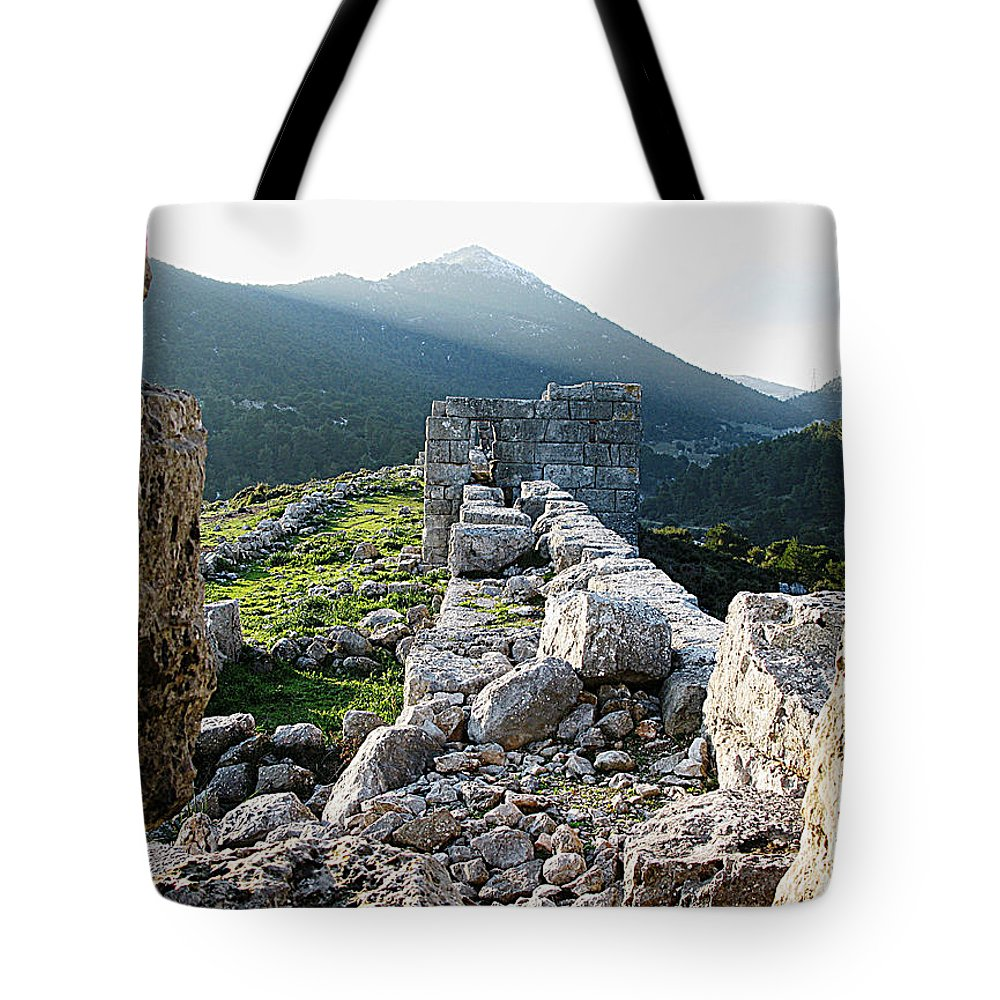 Eleutherae Tote Bag featuring the photograph Eleutherae Walls by Andonis Katanos