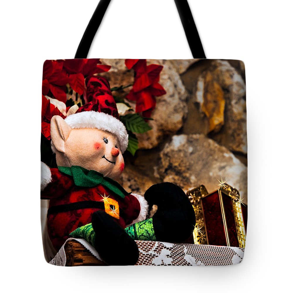 Christmas Tote Bag featuring the photograph Elf On Shelf by Christopher Holmes
